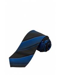 Мужской темно-синий галстук в вертикальную полоску от STENSER