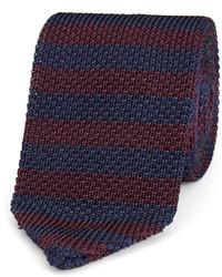 Темно-синий галстук в горизонтальную полоску