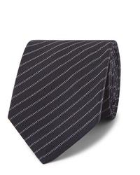 Мужской темно-синий галстук в горизонтальную полоску от Berluti