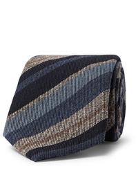 Мужской темно-синий галстук в горизонтальную полоску от Brioni