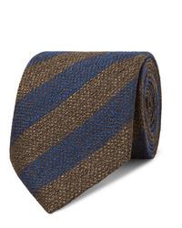 Мужской темно-синий галстук в горизонтальную полоску от Charvet