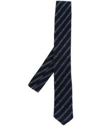 Мужской темно-синий галстук в горизонтальную полоску от Eleventy