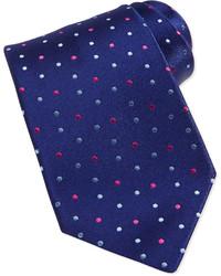 Темно-синий галстук в горошек
