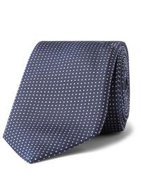 Мужской темно-синий галстук в горошек от Hugo Boss