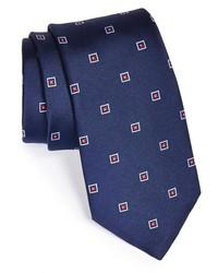 Темно-синий галстук с вышивкой