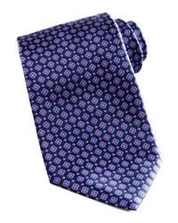 Темно-синий галстук с геометрическим рисунком