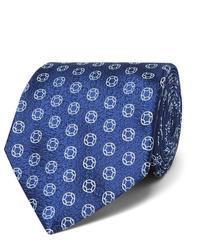 Мужской темно-синий галстук с принтом от Charvet