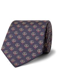 Мужской темно-синий галстук с принтом от Gucci