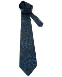 Темно-синий галстук с цветочным принтом