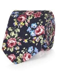 Мужской темно-синий галстук с цветочным принтом от River Island