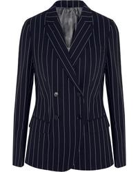 Темно-синий двубортный пиджак в вертикальную полоску