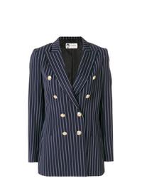 Женский темно-синий двубортный пиджак в вертикальную полоску от Lanvin
