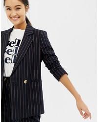 Женский темно-синий двубортный пиджак в вертикальную полоску от New Look