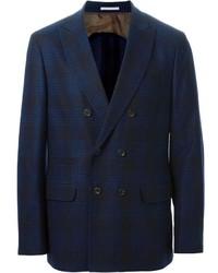 Темно-синий двубортный пиджак в клетку
