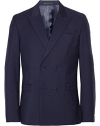 Темно-синий двубортный пиджак