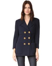 Женский темно-синий двубортный пиджак