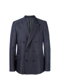 Мужской темно-синий двубортный пиджак от Alexander McQueen
