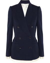 Женский темно-синий двубортный пиджак от Alexander McQueen