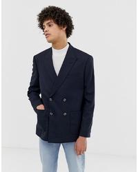 Мужской темно-синий двубортный пиджак от ASOS DESIGN