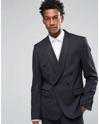 Мужской темно-синий двубортный пиджак от Asos