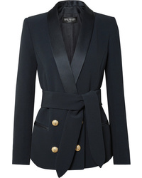 Женский темно-синий двубортный пиджак от Balmain