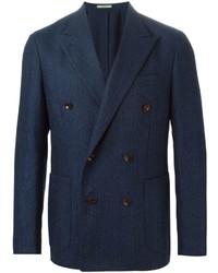 Мужской темно-синий двубортный пиджак от Boglioli