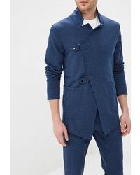 Мужской темно-синий двубортный пиджак от DuckyStyle