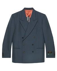 Мужской темно-синий двубортный пиджак от Gucci