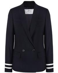 Женский темно-синий двубортный пиджак от J.Crew