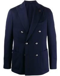 Мужской темно-синий двубортный пиджак от Lardini