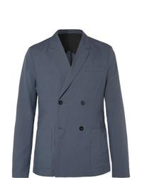 Мужской темно-синий двубортный пиджак от Mr P.