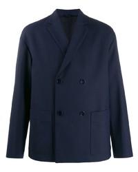 Мужской темно-синий двубортный пиджак от Oamc