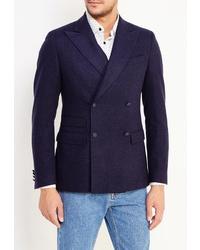 Мужской темно-синий двубортный пиджак от Riggi