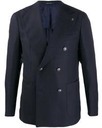 Мужской темно-синий двубортный пиджак от Tagliatore