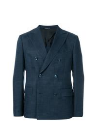 Мужской темно-синий двубортный пиджак от Tonello
