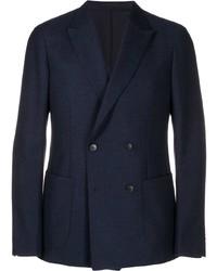 Мужской темно-синий двубортный пиджак от Z Zegna