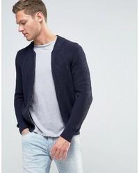 Мужской темно-синий джинсовый вязаный бомбер от Sisley