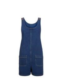Темно-синий джинсовый комбинезон с шортами