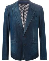 Темно-синий джинсовый пиджак