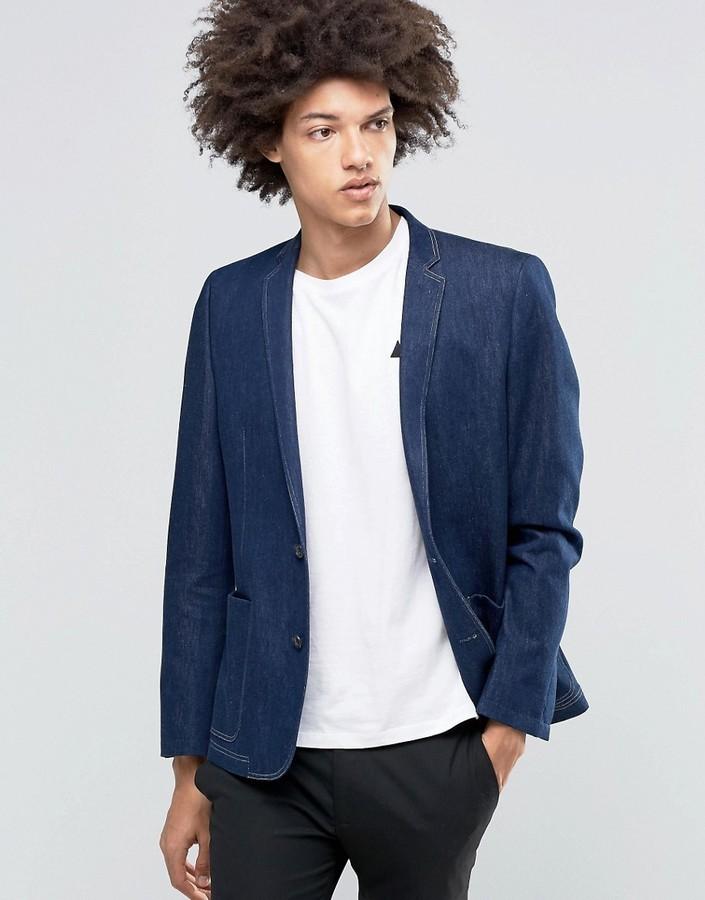 Мужской темно-синий джинсовый пиджак от Asos   Где купить и с чем носить c922550f7af