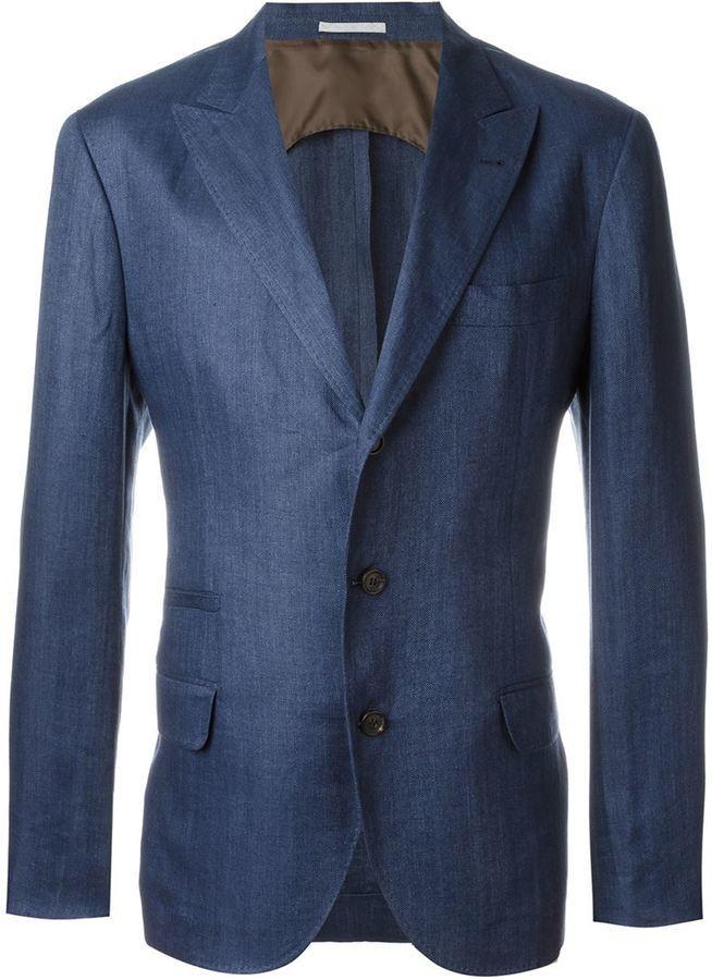 Мужской темно-синий джинсовый пиджак от Brunello Cucinelli   Где ... 6fea87a6029
