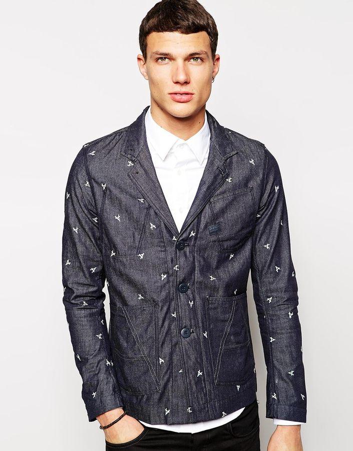 Мужской темно-синий джинсовый пиджак от G Star   Где купить и с чем ... 58097fc1c45