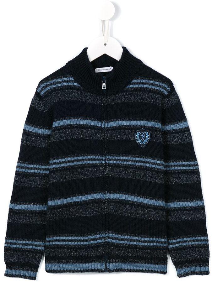 Детский темно-синий кардиган в горизонтальную полоску для мальчиков от Dolce & Gabbana