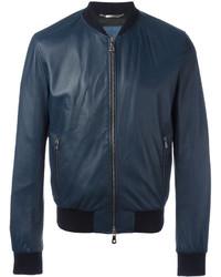 Мужской темно-синий кожаный бомбер от Dolce & Gabbana