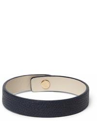 Мужской темно-синий кожаный браслет от Valextra