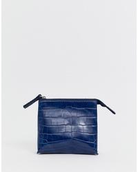 Темно-синий кожаный клатч от French Connection