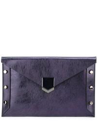 Темно-синий кожаный клатч от Jimmy Choo