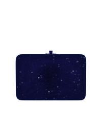 Темно-синий кожаный клатч от Judith Leiber Couture