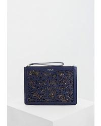 Темно-синий кожаный клатч от Tous
