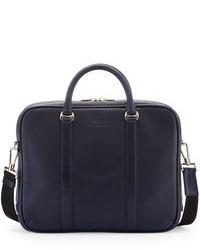 Темно-синий кожаный портфель